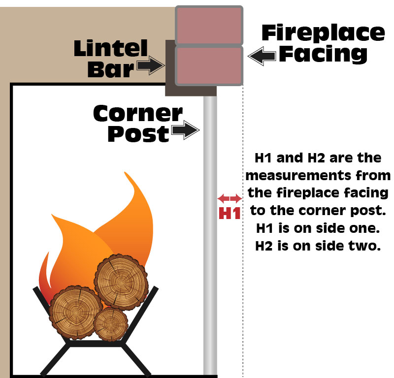 Measuring from fireplace front to center bar of 2 or 3 sided fireplace.