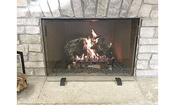 Custom Size Tempered Clear Glass Fireplace Screen With Handles And Matching Feet