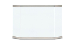 Modern Tri Panel Glass Screen In Brushed Stainless