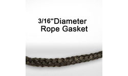 "3/16"" black graphite impregnated rope gasket for wood stoves."