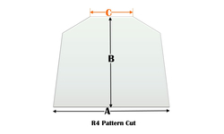 R4 Specialty cut pyroceramic glass for wood stoves