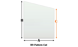 R9 Specialty cut pyroceramic glass for wood stoves