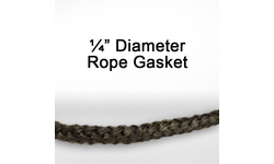 "1/4"" black graphite impregnated rope gasket for wood stoves."