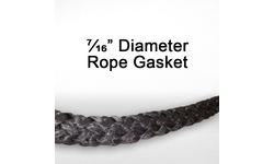 "7/16"" black graphite impregnated rope gasket for wood stoves."