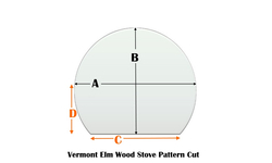 Vermont Elm Wood Stove specialty cut pyroceramic glass