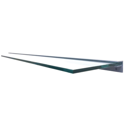 48 Inch Wide Clear Tempered Glass Mantel Shelf