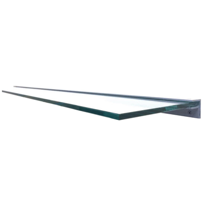 84 Inch Wide Clear Tempered Glass Mantel Shelf