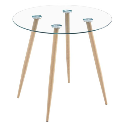 Transparent Glass Round Table with Wooden Legs