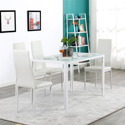 White Tempered Glass and Iron Dinner Table