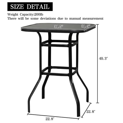 Wrought Iron Glass High Bar Table