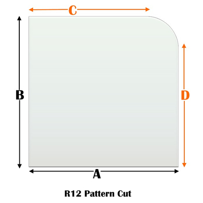 R12 Specialty cut pyroceramic glass for wood stoves