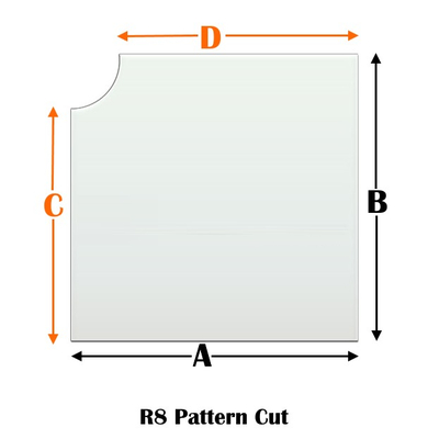 R8 Specialty cut pyroceramic glass for wood stoves