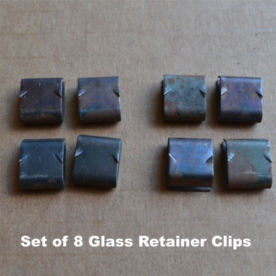 You receive a set of 8 glass retainer clips - enough for two glass panels on one side of your bi-fold doors.
