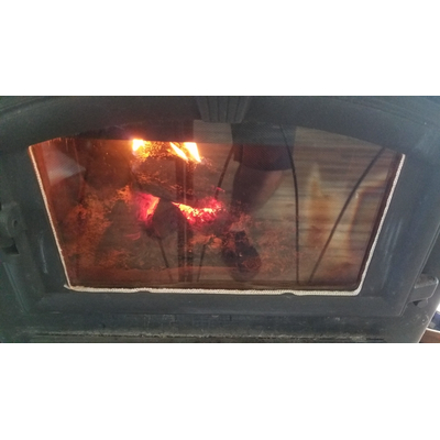 Ceramic glass is ideal for wood heat stoves as it can withstand very high temperatures! Customer submitted photo!