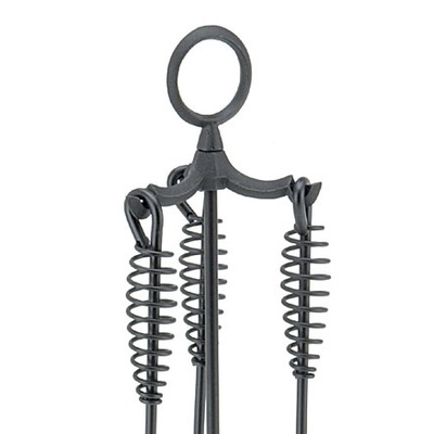 Boylston Mini Fireplace Tool Set - black powder coated coil style handles