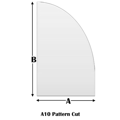 Tempered Glass Half Arch With Short Straight Pattern Cut 10