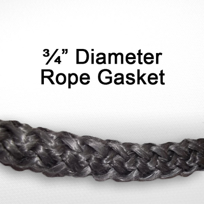 "3/4"" black graphite impregnated rope gasket for wood stoves."
