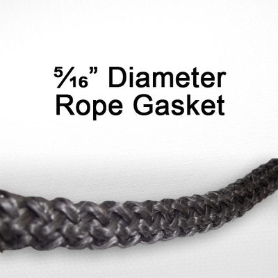 "5/16"" black graphite impregnated rope gasket for wood stoves."