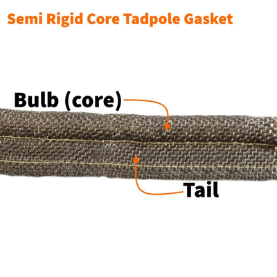The bulb and tail of the semi rigid core tadpole gasket